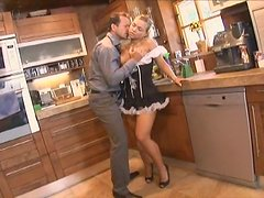 Cute Mia Leone in sexy dress having sex fun in the kitchen