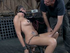 Cuddly babe Alisha Adams gets her shaved clit rubbed with vibrator
