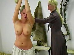 Perverted blonde is getting her pussy spanked