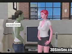 3d chick fucking black dude