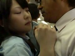 Naughty Asian Teen Strokes a Cock in Public Bus Till It Cums
