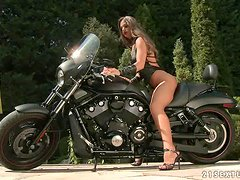 Biker Chick Cathy Heaven Taking a Deep Dicking Outdoors