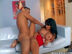 Arousing tanned black haired cheating milf Sophia Lomeli with massive