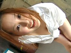Crummy Japanese trollop Yui Aoyama flashes her succulent boobs