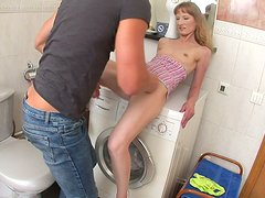 Euro housewife Soni sucks huge thick dick during her laundry