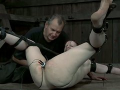 Freaky chick Claire Adams takes an electric tool in her pussy