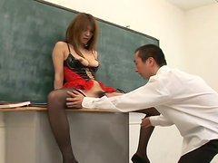 Asian student girl Ai Kurosawa gets her pussy rubbed in college room