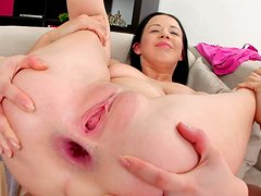 Evelyn Cage sucks the dick that has pounded her butt hole