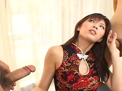 Mean Japanese mistress Riko Tachibana pleases two submissive guys