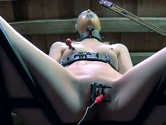 Electricity plus BDSM equals intensive orgasm for Kristine Andrews