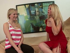 Sexy teen Tracey Sweet learns how to give blowjob from experienced milf