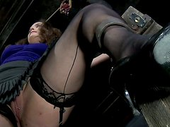 Chubby brown head slut Charlotte Vale gets fingered in a BDSM video