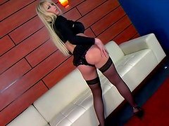 Seductive blonde Candy Manson poses on cam and blows a hard pecker