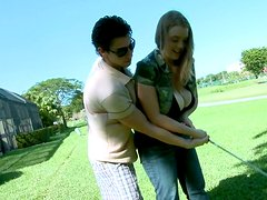 Sexy and horny fattie Sierra Skye gets picked up on the golf course