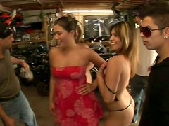 Slutty bitches Natasha Nice, London Keyes and Thea Marie offers a hardcore sex as a payment for a repair of a bike