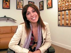 Pretty face Natalie Nunez strips on an interview and rubs her clit in front of the camera