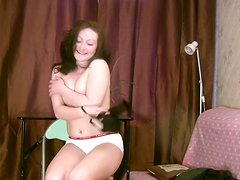 Curly brunette Klavdia wanna have a casual sex in the ugly room