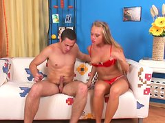 Attractive blonde girl Winter gets nailed by Arthur in a missionary position