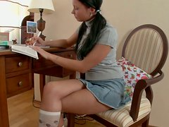 Horny teen Raine gets horny and pleasure herself on a stool