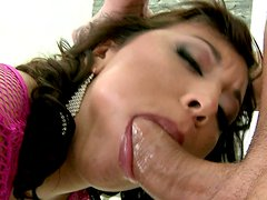 Loose butthole of curly brunette Shanis gets railed rough