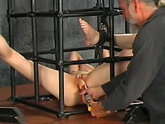 Horny beauty being fucked in her hole by an old fart
