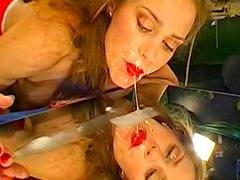 Slender brunette Magdalena being filled with jizz