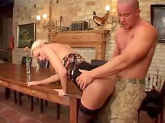 Smoking hot small titty blonde takes it in the ass