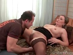Sexy milf in a pair of stockings licked lustily