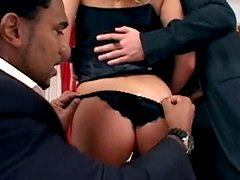 Appetizing blond nympho Sandra de Marco seduces two FBI agents