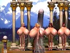 3D cuties with enormous boobs go for a walk in a forest