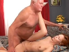 Erotic little honey gives Hot old grandpa A Spicy bump session.
