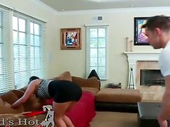 Awesome black haired Rilynn Rae toys close to her boyfriends son while when her bf is away