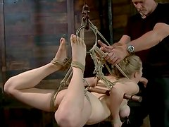Immature Penny Pax loves A pain as she is strung up in freaky ties. Mark Davis canes her feet, spits onto her, slaps, flogs and moth shafts her throat.