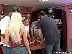 Blonde Bimbo Gets Surrounded & Shagged By Several Schlongs