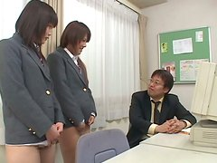 Naughty School Girls Bend Over the Teacher's Desk to Get Toyed