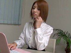 Beautiful Japanese Chick Masturbating in the Office