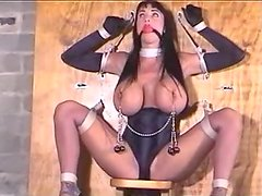 Sexy and juicy brunette is tied up for a hot tortures