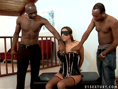 Sexy babe in fishnet Alisandra gets two hard black monsters