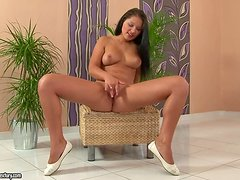 Brunette cutie Lana S favours herself with passionate pussy fingering