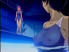 Pink-haired anime cutie gets her pussy fingered in a pool