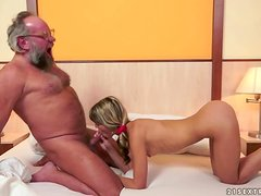 Old guy in glasses fucks amazing Doris Ivy on a bed