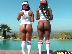 Black girls fondle and grope big ass outdoors