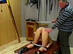 Perverted blonde being spanked and humiliated