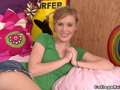 Two pretty chicks get naughty with two guys in a dorm