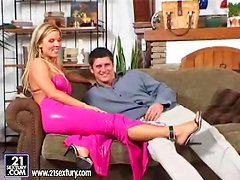 Ginger Jones the blonde goddess gets licked and fucked