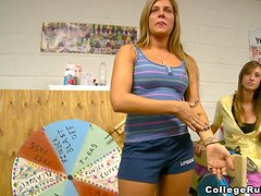 Brown-haired hottie gets fucked by her room mates in a dorm