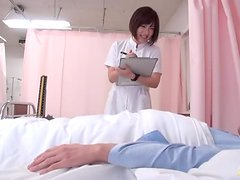Kotomi Asakura the pretty nurse gives her patient a handjob