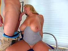 Arousing tanned long haired blonde wife Brandy Talore with gigantic