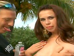 Amazing and flirtatiopus brunette doll Jay and her boyfriend Jordan are doing wild things on the yard