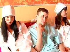 Sexy nurse  and a grop of horny peaople eager for sex fun